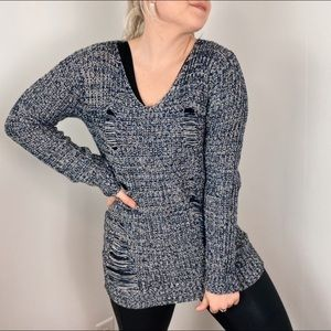 Blue Knit Sweater Distressed